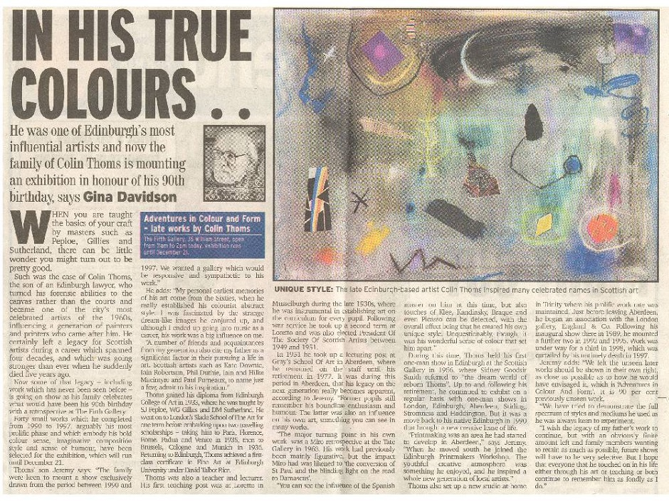 Colin Thoms Evening News Press Cutting 30.11.02