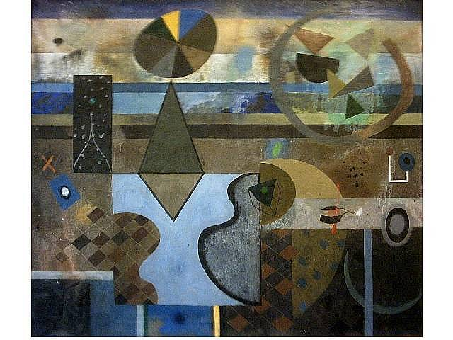 Assemblage On Horizontal Structure. Oil on canvas. 42 x 36 inches 1978