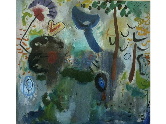 Garden With Mother & Child. 1966 Oil on board 22 x 30in