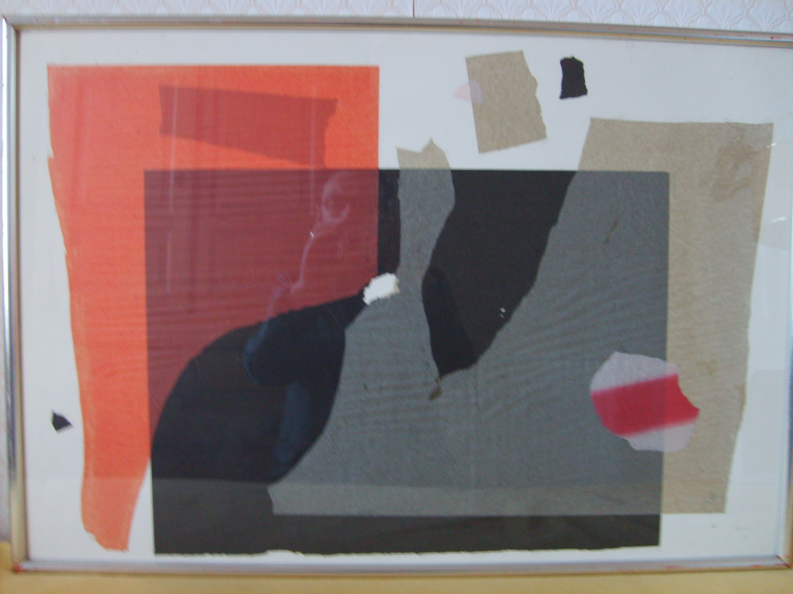 Red, Black, White & Grey. 79 x 54 cms. Cut Paper collage. 1973