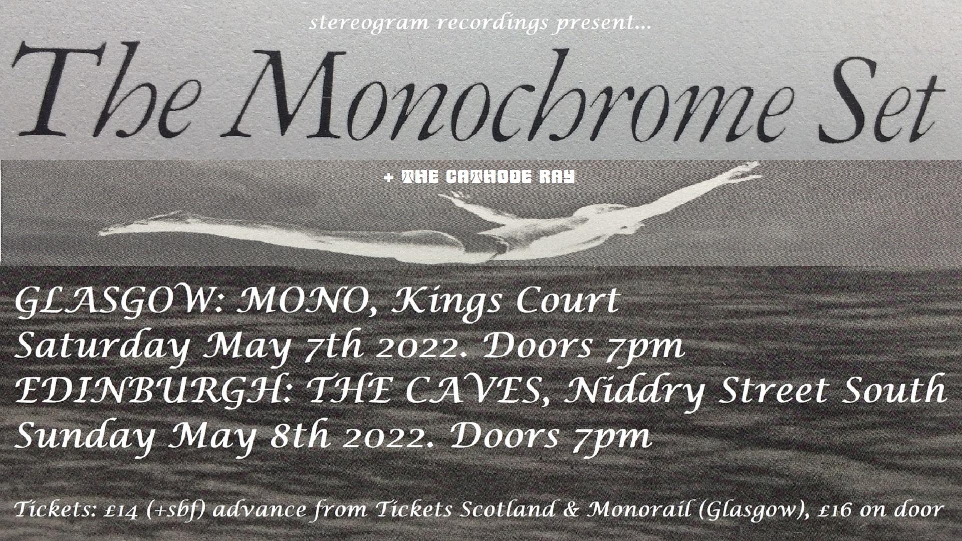 THE MONOCHROME SET + CATHODE RAY 07 & 08.05.22 Facebook Banner